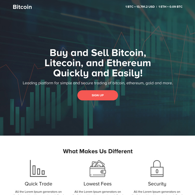 responsive digital currency platform landing page design Cryptocurrency example