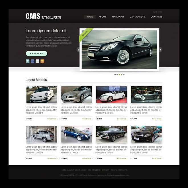 clean and attractive car selling portal website template design psd Website Template PSD example