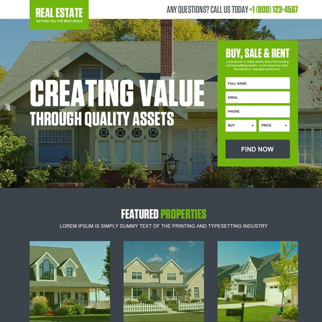 real estate properties bootstrap landing page design Real Estate example