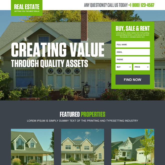 converting real estate listing landing page design template Real Estate example