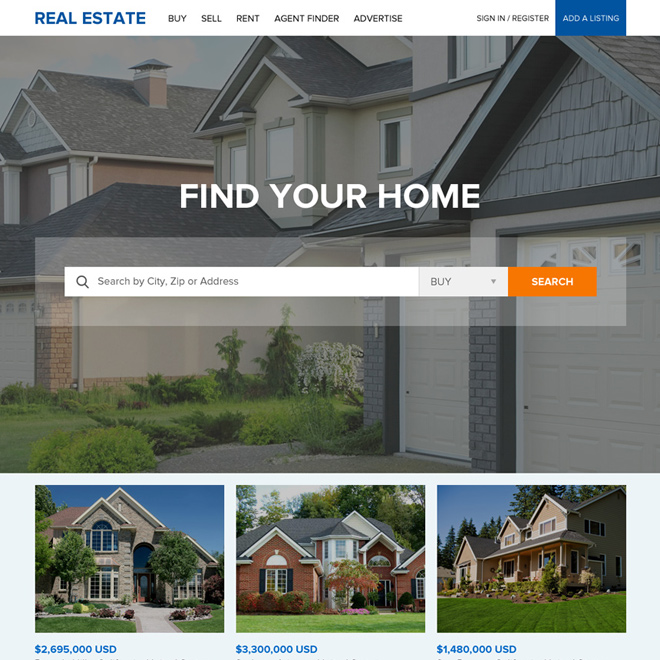 professional real estate listing website design Real Estate example