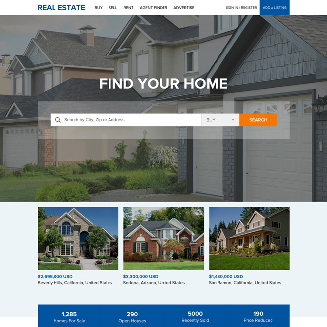 clean and professional real estate responsive website design Real Estate example