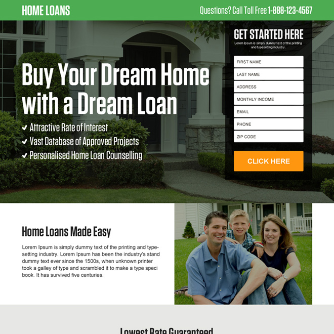 responsive home loan lead capturing landing page design Home Loan example