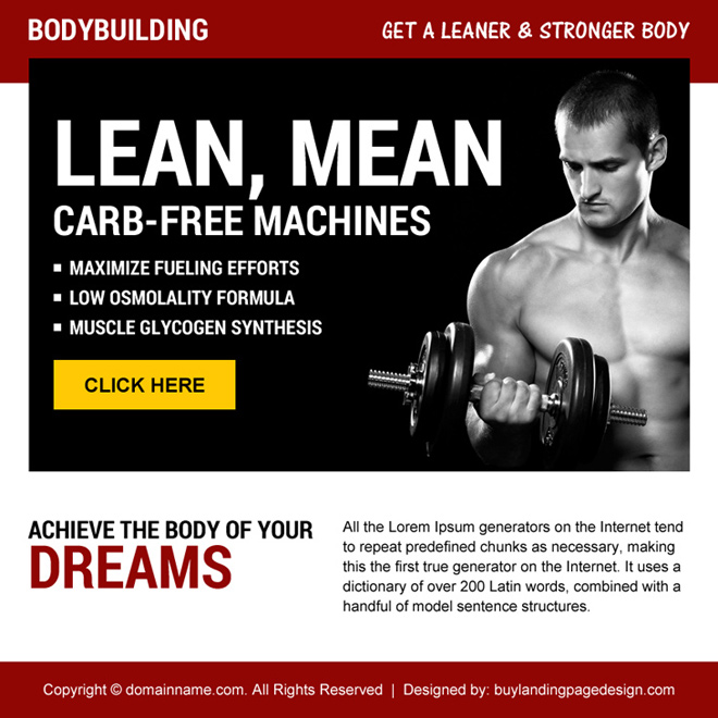 bodybuilding call to action ppv landing page design Bodybuilding example