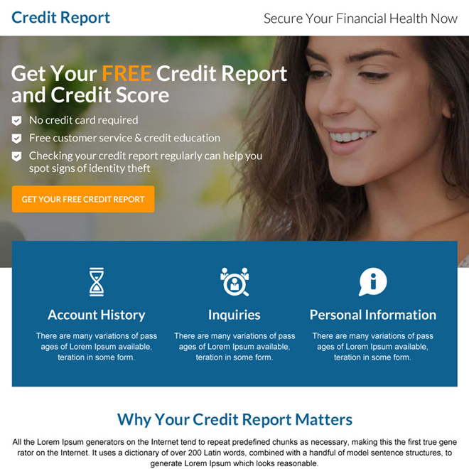 credit report call to action mini landing page design Credit Report example