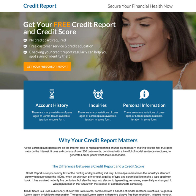 responsive call to action credit report mini landing page Credit Report example