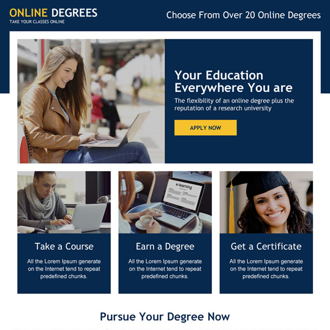 online degree minimal call to action landing page Education example