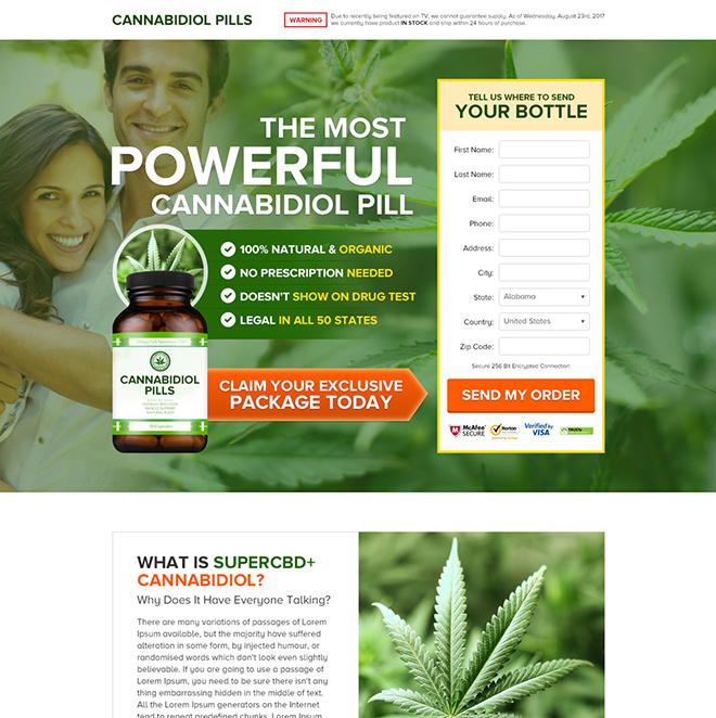 cannabidiol health supplement pills selling responsive landing page Health and Fitness example