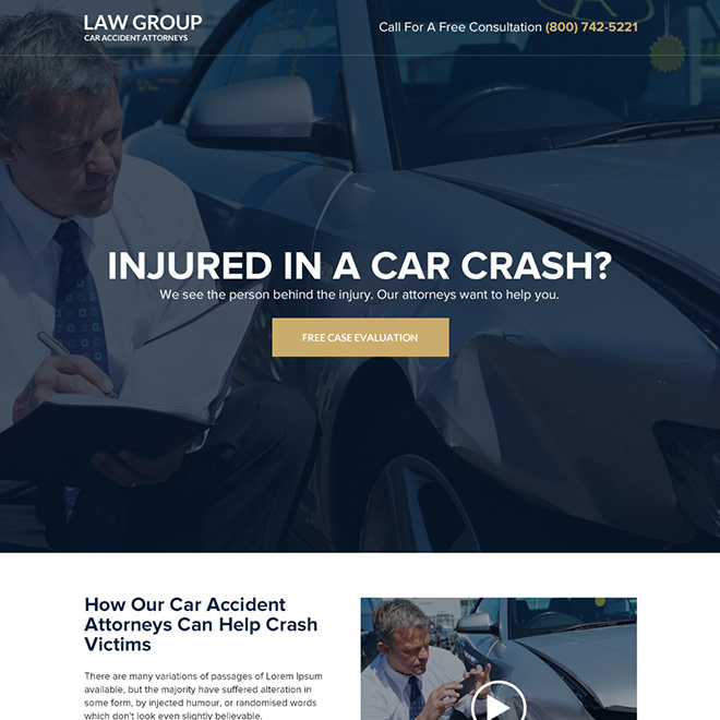 car accident attorney responsive landing page design Attorney and Law example