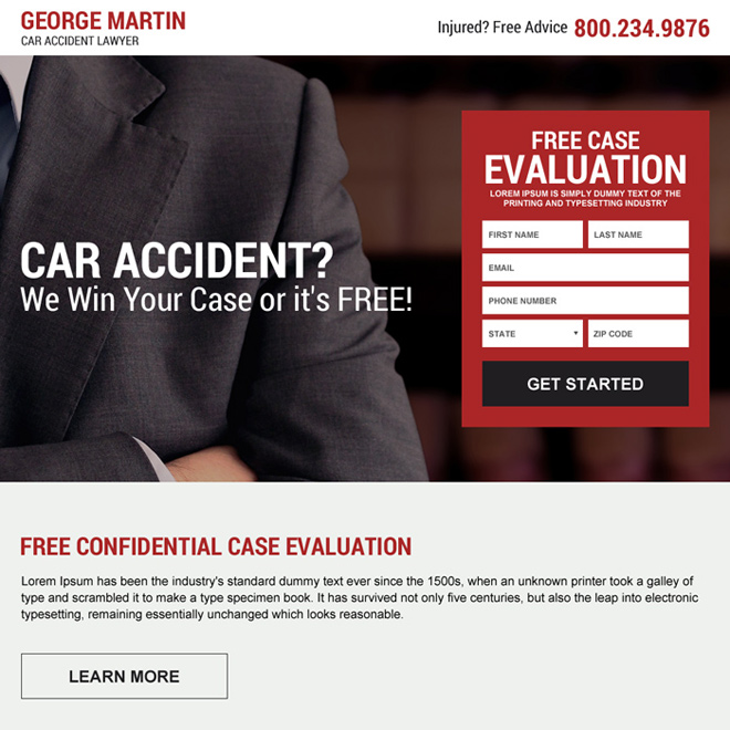 car accident lawyer case evaluation landing page design Attorney and Law example