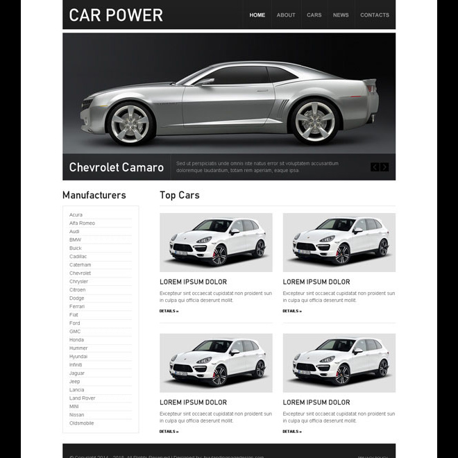 clean and converting car dealer website template design psd Website Template PSD example