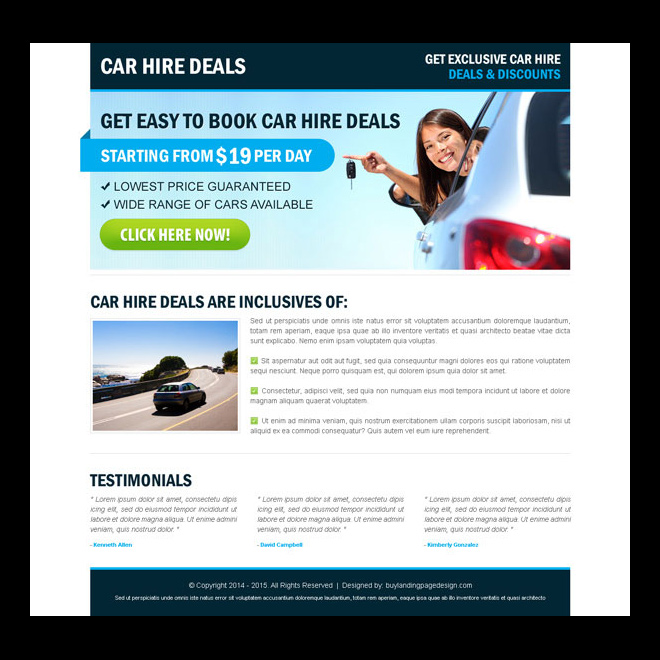 car hire call to action effective landing page Car Hire and Car Rental example