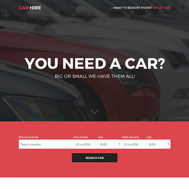 responsive car hire services bootstrap landing page Car Hire and Car Rental example