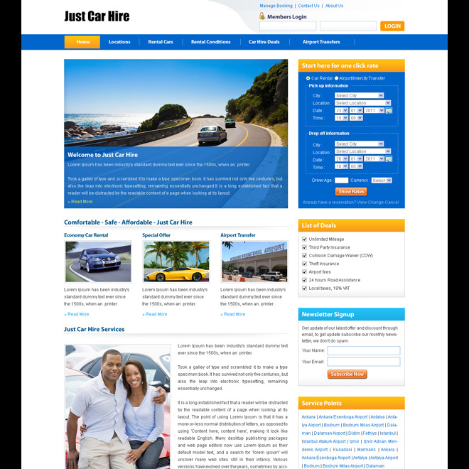 car hire lead capture clean and effective website template design psd Website Template PSD example