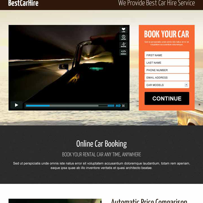 best car hire lead capture responsive video landing page design Car Hire and Car Rental example