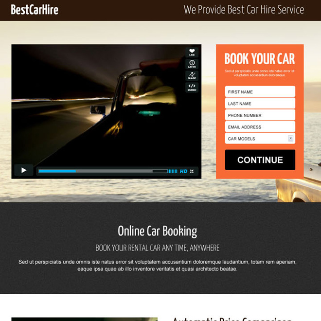 car hire converting video landing page design Car Hire and Car Rental example