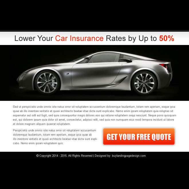 lower your car insurance rates free quote ppv landing page design Auto Insurance example