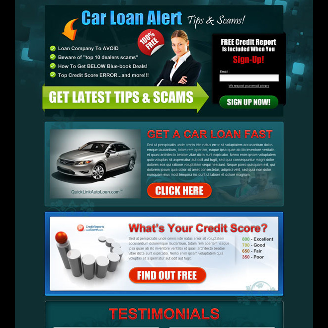 car loan alert dark single lead capture lander design Auto Financing example