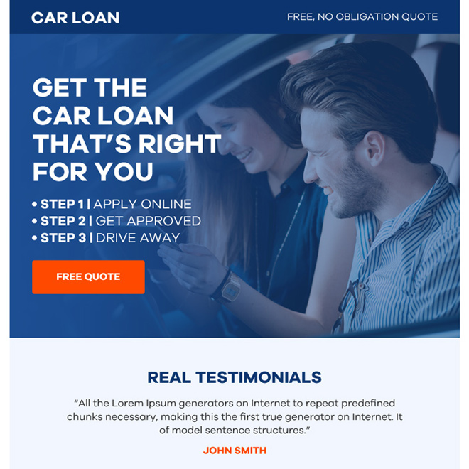 auto finance free quote ppv landing page design Auto Finance example