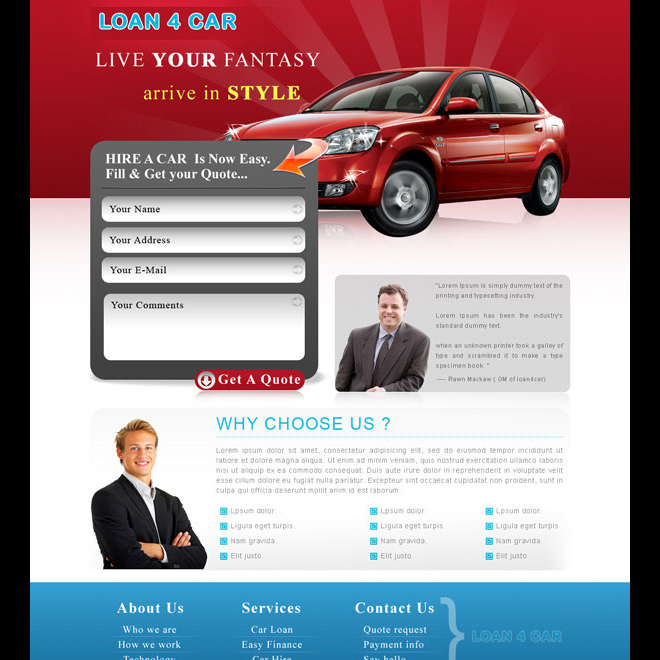 car loan appealing lead generating landing page design Auto Financing example