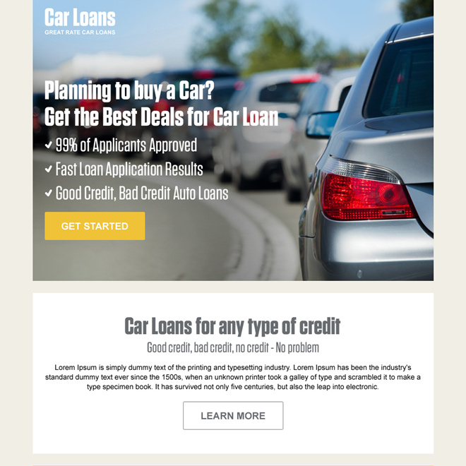 car loan pay per click converting landing page design Auto Financing example