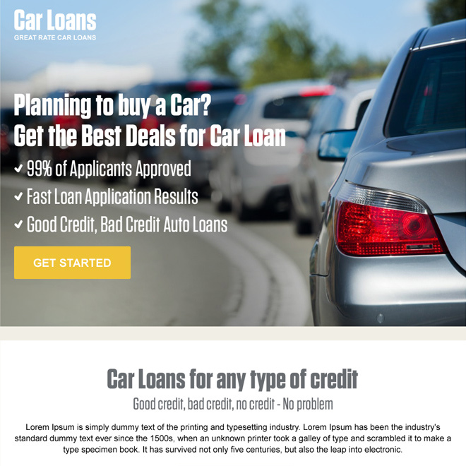 car loan pay per click landing page design template Auto Financing example