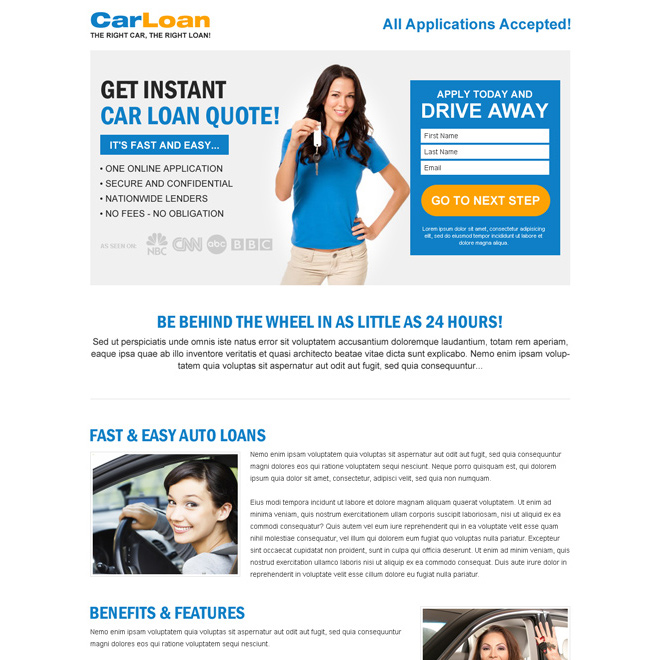 white and blue car loan lead capture responsive lander design Auto Financing example