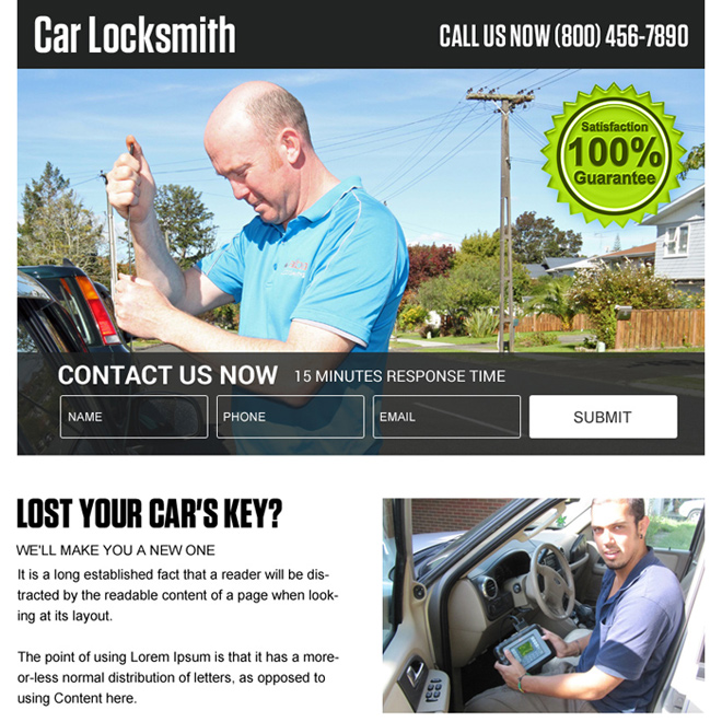 car locksmith services ppv landing page design Locksmith example
