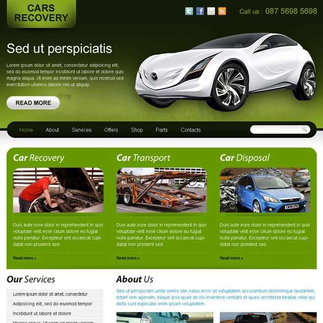 car recovery website template design for sale Website Template PSD example