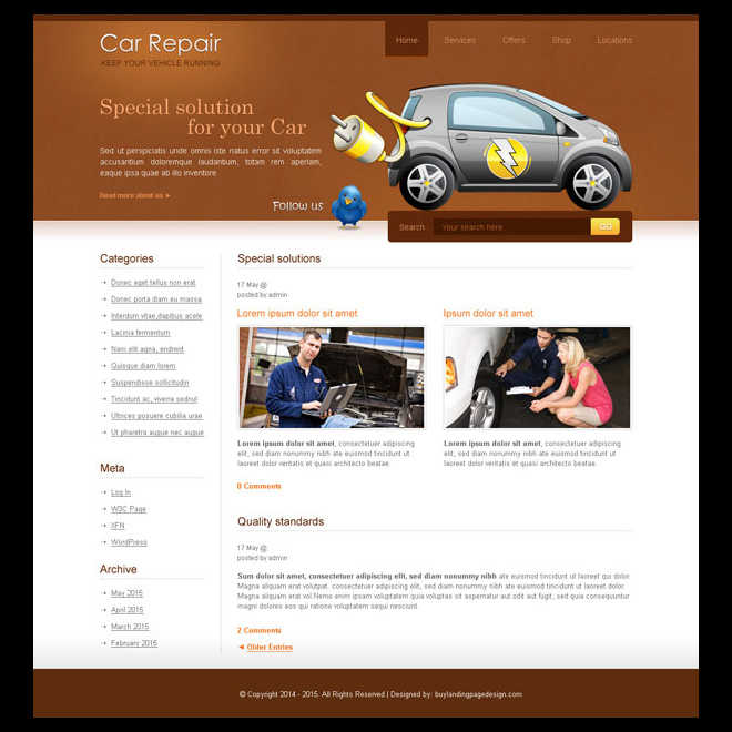 car repair service website template design psd Website Template PSD example