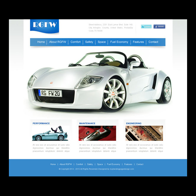 clean and appealing car selling website template psd Website Template PSD example