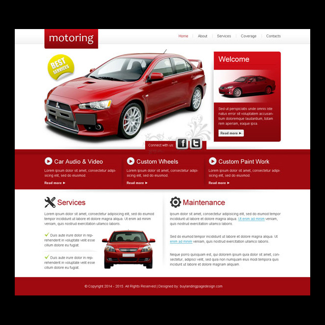 attractive and converting car service maintenance website template design psd Website Template PSD example
