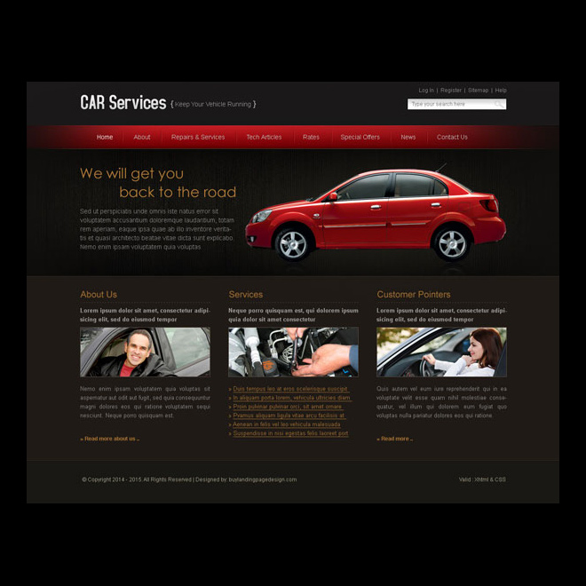 car service easy to edit website template design psd Website Template PSD example
