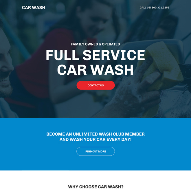 car cleaning service center responsive landing page design Automotive example