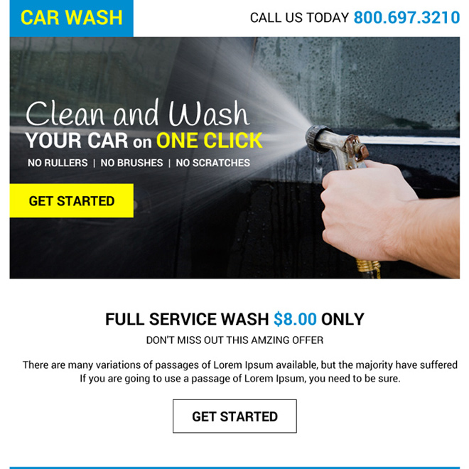 full car wash service lead capturing ppv design Automotive example