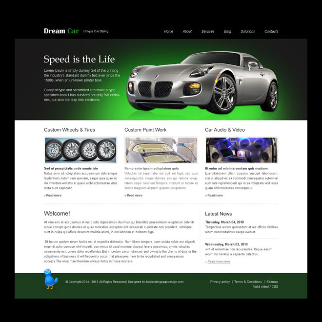 dream car attractive and appealing website template design psd Website Template PSD example