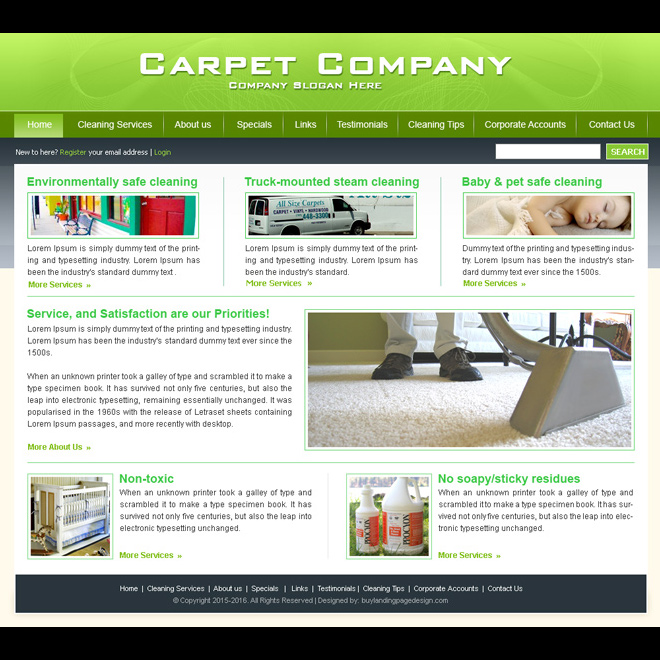 carpet cleaning company website template design psd for sale Website Template PSD example