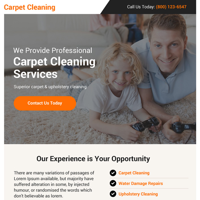 professional carpet cleaning services ppv landing page design Cleaning Service example