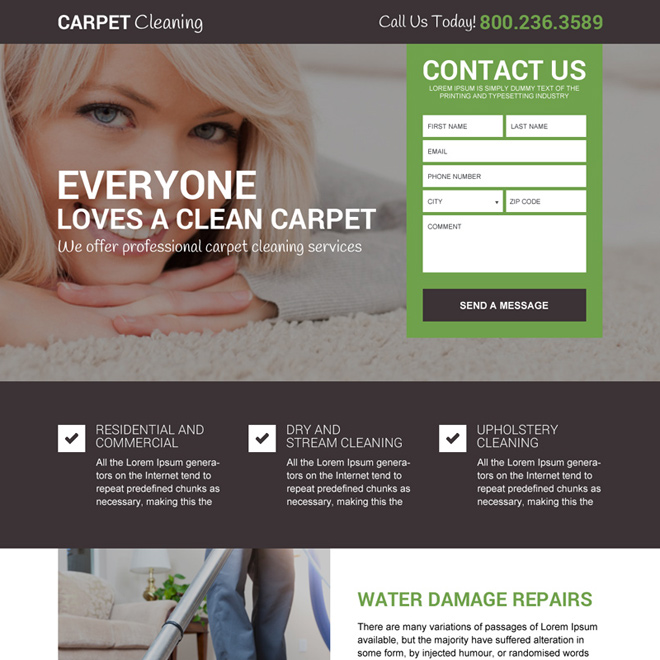 carpet cleaning service free quote landing page design Cleaning Services example