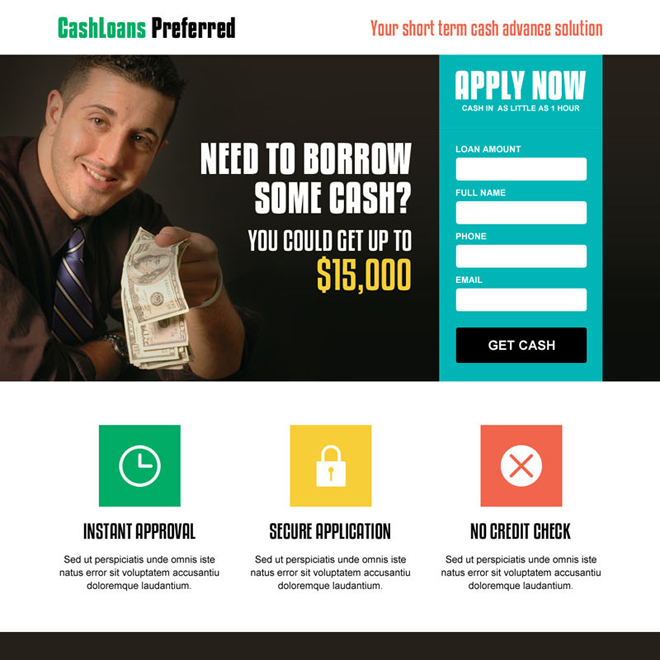 cash loan lead capture responsive landing page design template Loan example