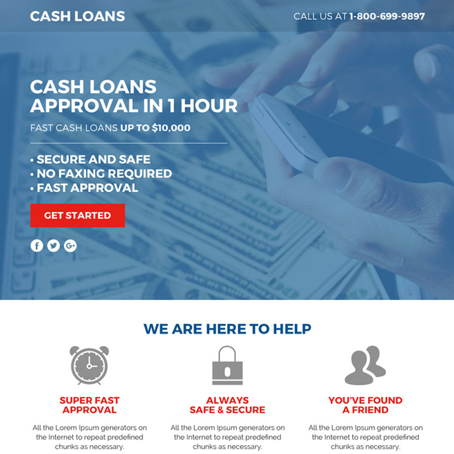 cash loan lead funnel responsive landing page design Loan example
