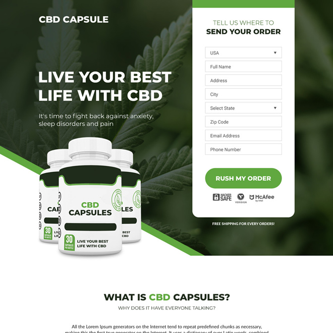 cbd capsules pain relief responsive landing page design Pain Relief example