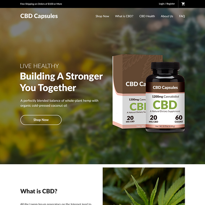 cannabidiol capsules selling responsive website design Pain Relief example