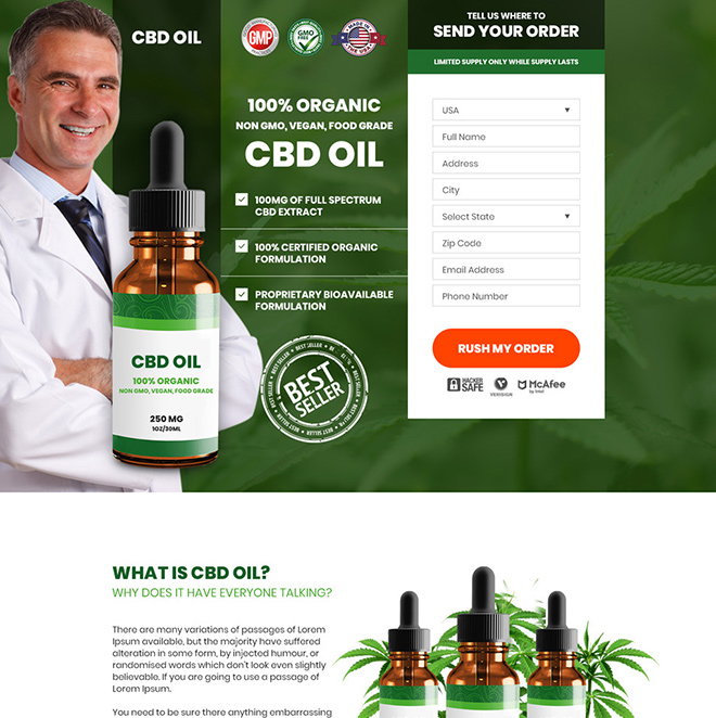 CBD oil pain relief product responsive landing page design Pain Relief example