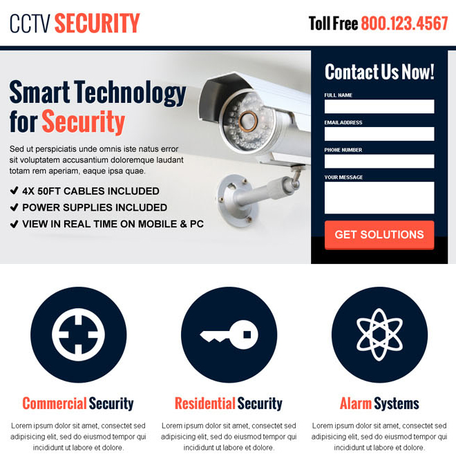 cctv security lead capture landing page design template for smart security services Security example
