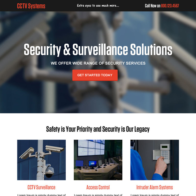 cctv security system solution responsive landing page design Security example