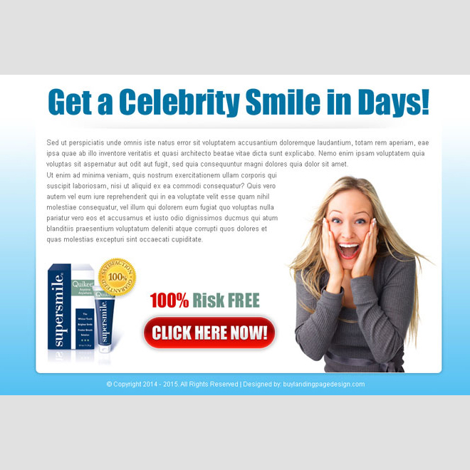 get a celebrity smile attractive ppv landing page design Teeth Whitening example
