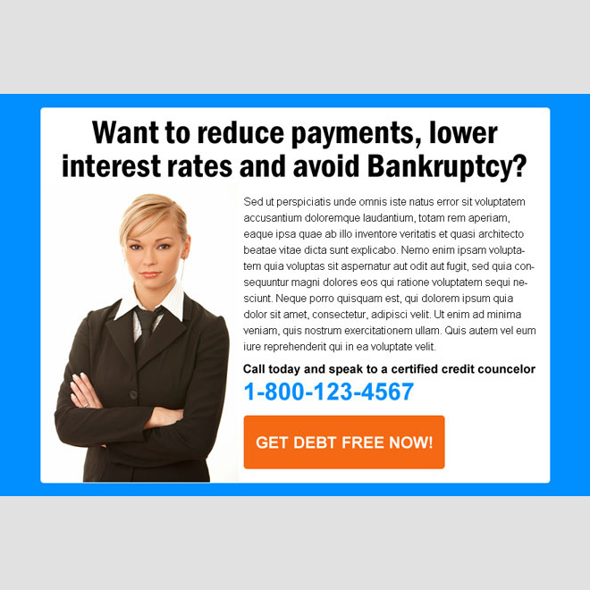 reduce payments and lower interest rates debt ppv landing page PPV Landing Page example