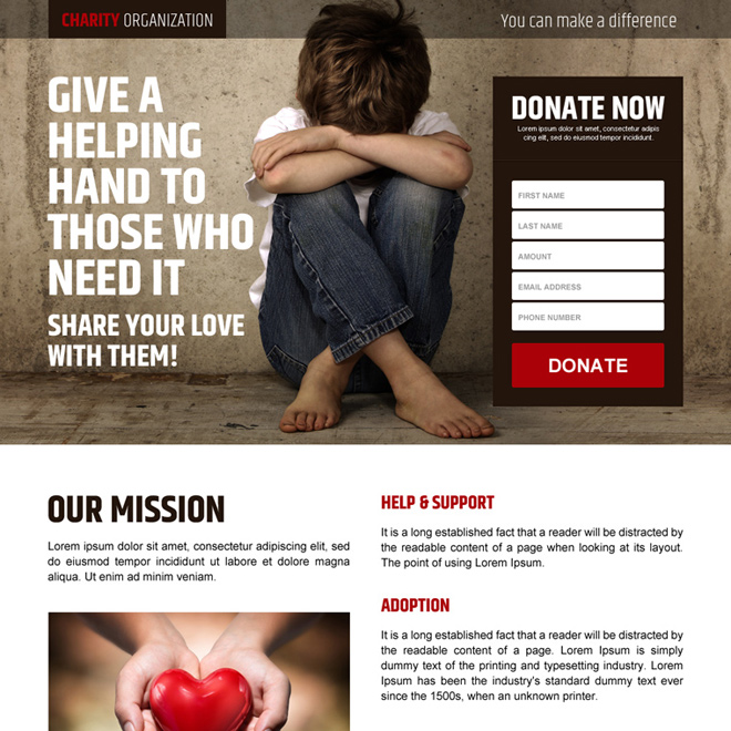 charity organization responsive online donation lead capture landing page Charity And Donation example