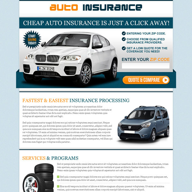 cheap auto insurance zip capture converting and highly effective lander design Auto Insurance example